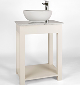 Bathroom washstand with Carrara Marble top, countertop sink and tall contemporary tap, painted in White Mulberry.