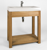 Bathroom washstand with overlay sink and contemporary tap, in our stunning solid oak.