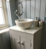 Our double overlay sink top shown with a contemporary mixer tap (£75).